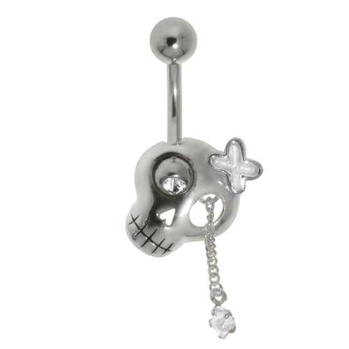 Bauchpiercing Chirurgenstahl 316L Silber 925 Email Kristall Zirkonia Totenkopf Schädel Knochen Schleife Geschenkband Haarschlaufe