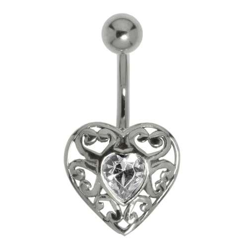 Bauchpiercing Silber 925 Chirurgenstahl 316L Kristall Herz Liebe Tribal_Zeichnung Tribal_Muster