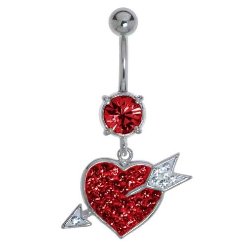 Bauchpiercing Chirurgenstahl 316L Messing rhodiniert Kristall Herz Liebe Love Liebe