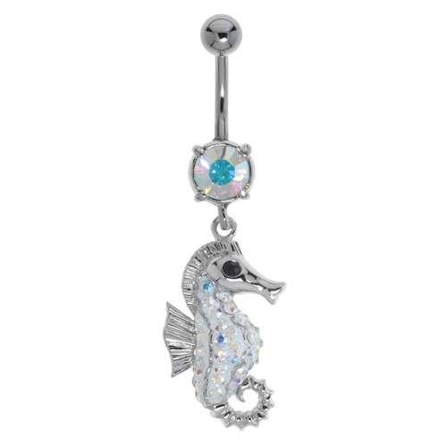 Bauchpiercing Chirurgenstahl 316L Messing rhodiniert Kristall Seepferdchen