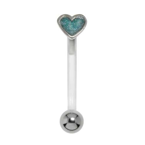 Bauchpiercing Silber 925 Chirurgenstahl 316L Bioplast Email Herz Liebe