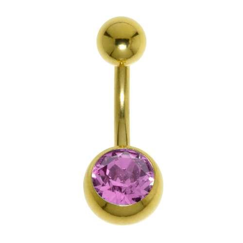 Bauchpiercing Chirurgenstahl 316L PVD Beschichtung (goldfarbig) Swarovski Kristall