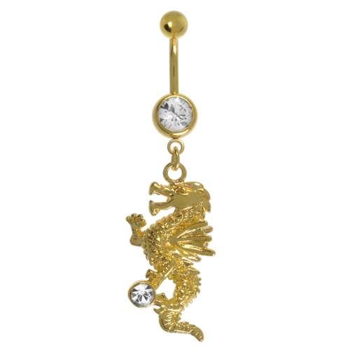 Bauchpiercing Messing rhodiniert Swarovski Kristall PVD Beschichtung (goldfarbig) Drache