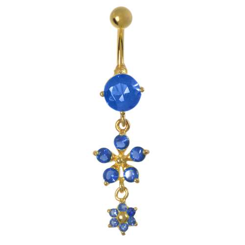 Bauchpiercing Chirurgenstahl 316L Kristall PVD Beschichtung (goldfarbig) Blume Stern