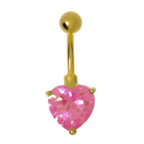 Bauchpiercing Messing rhodiniert Zirkonia PVD Beschichtung (goldfarbig) Herz Liebe