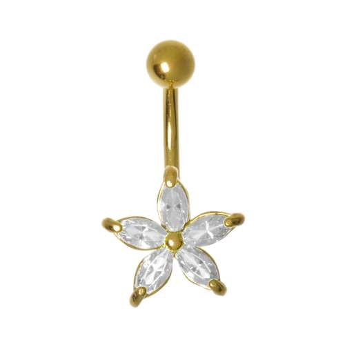 Bauchpiercing Messing rhodiniert Zirkonia PVD Beschichtung (goldfarbig) Blume