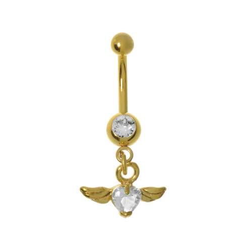 Bauchpiercing Chirurgenstahl 316L Swarovski Kristall PVD Beschichtung (goldfarbig) Flügel