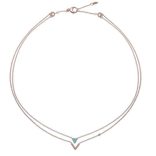 FOSSIL Halskette Edelstahl Swarovski Kristall PVD Beschichtung (goldfarbig) Dreieck