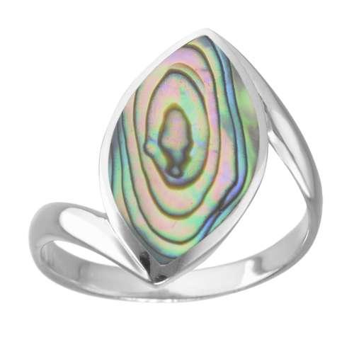 Silberring Silber 925 Abalone Streifen Rillen Linien