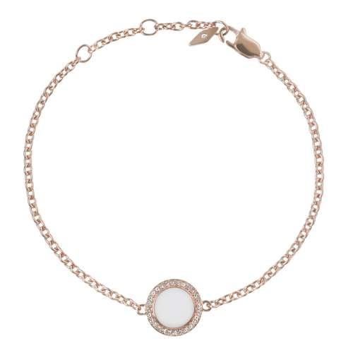 FOSSIL Armband Edelstahl PVD Beschichtung (goldfarbig) Synthetische Perle Zirkonia