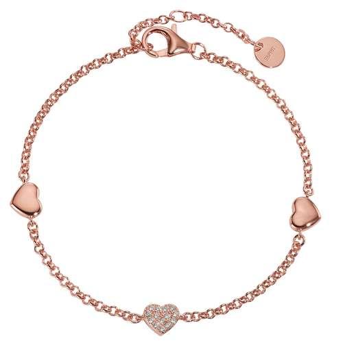 Esprit Silber-Armkettchen Silber 925 PVD Beschichtung (goldfarbig) Zirkonia Herz Liebe