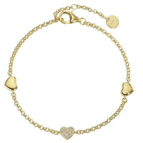 Esprit Bracciale Argento 925 Rivestimento PVD (colore oro) Zircone Cuore Amore