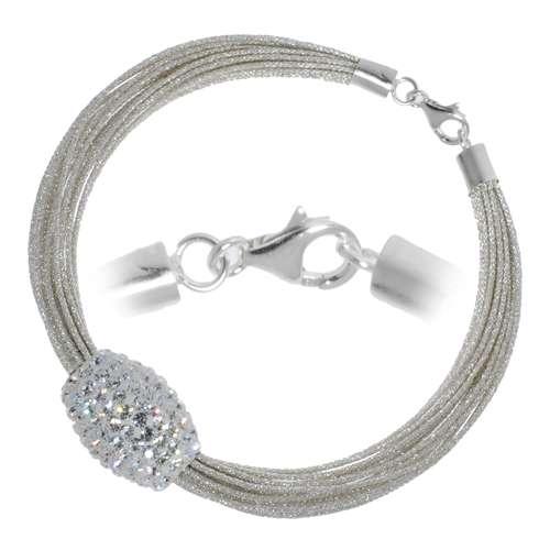 Bracelet Nylon Cristal Argent 925