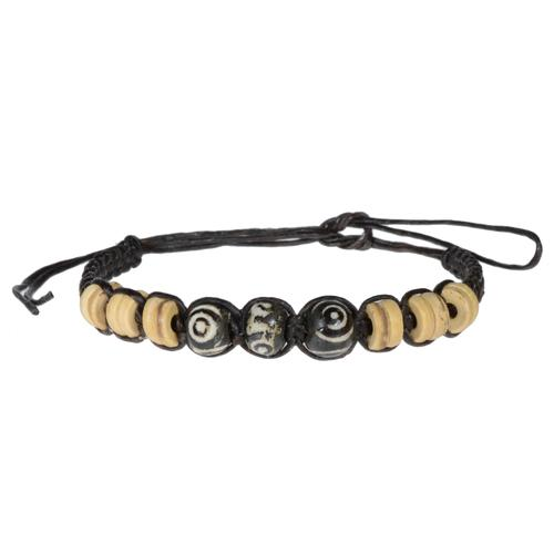 Geknüpftes Armband Gewachste Leinen Kokosnussholz Buffalo Bone Spirale