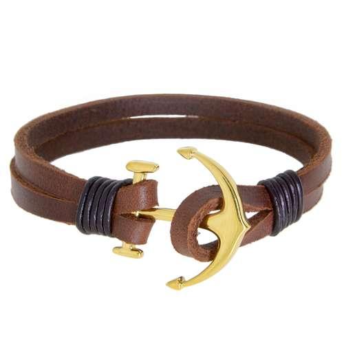 Bracelet Cuir Acier inoxydable Revêtement d´or (doré) Ancre