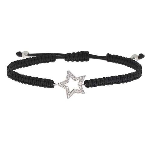 Geknüpftes Armband Silber 925 Kristall Nylon Stern