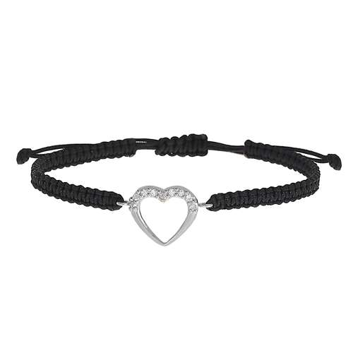 Geknüpftes Armband Silber 925 Kristall Nylon Herz Liebe