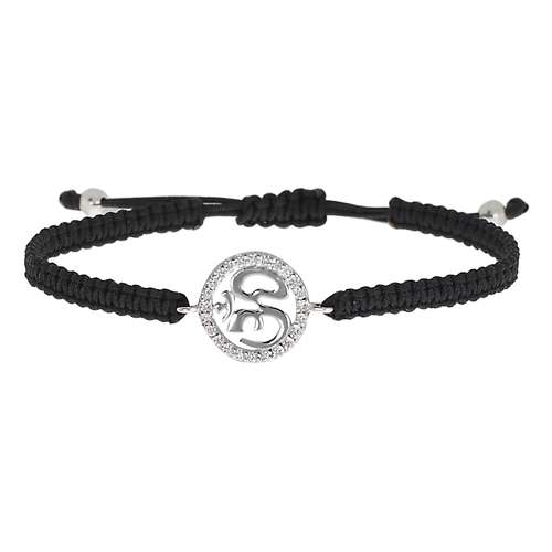 Geknüpftes Armband Silber 925 Kristall Nylon Om Aum Gott