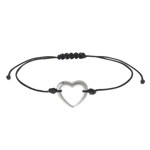 Geknüpftes Armband Silber 925 Nylon Herz Liebe