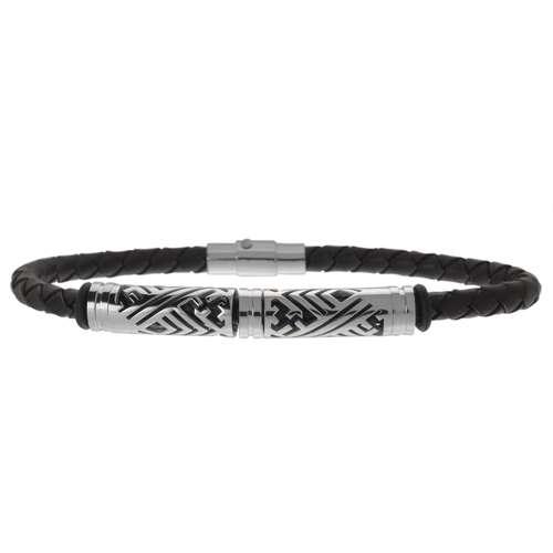 Lederarmband Leder Edelstahl PVC Streifen Rillen Linien Tribal_Zeichnung Tribal_Muster