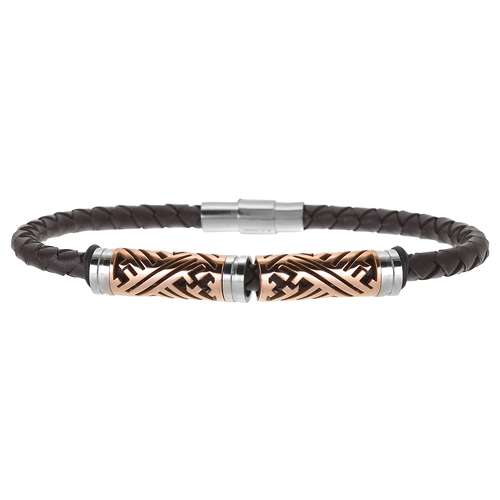 Lederarmband Leder Edelstahl PVD Beschichtung (goldfarbig) PVC Streifen Rillen Linien Tribal_Zeichnung Tribal_Muster