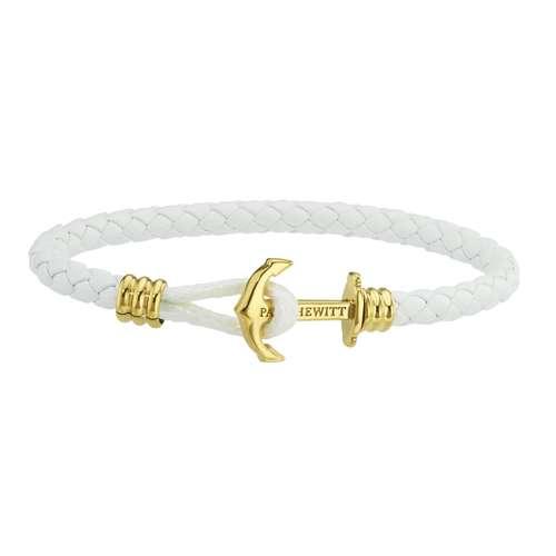 PAUL HEWITT Geknüpftes Armband Leder Edelstahl PVD Beschichtung (goldfarbig) Anker, Seil, Schiff,