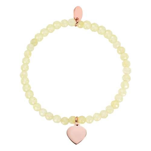 Bracelet Acier inoxydable Revêtement PVD (couleur or) Pierre naturelle Coeur C?ur Amour