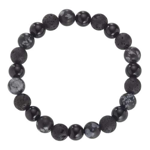 Armband Achat Lava-Stein Schneeflocken-Obsidian Kunststoff