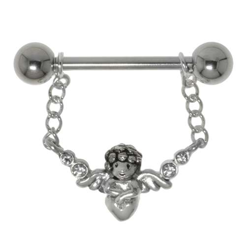 Brustpiercing Chirurgenstahl 316L Silber 925 Kristall Engel Flügel
