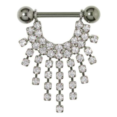 Brustpiercing Chirurgenstahl 316L Silber 925 Swarovski Kristall