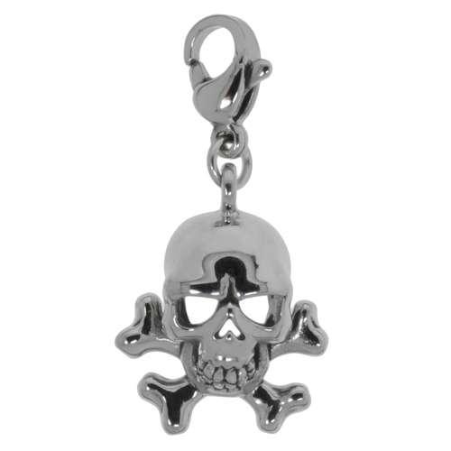 Charms-Anhänger Edelstahl Totenkopf Schädel Knochen