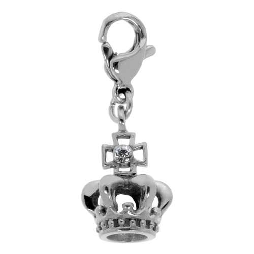 Charms-Anhänger aus Edelstahl mit Swarovski Kristall. Breite:10mm. Gewicht:1,7g. Edelstahl Swarovski Kristall Krone Kreuz