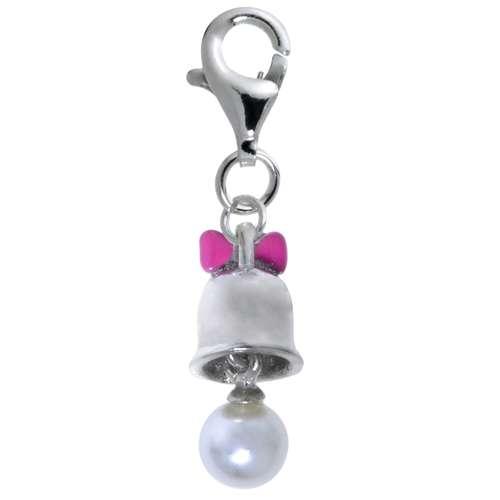 Kinder Charm Silber 925 Email Synthetische Perle Glocke Glöckchen