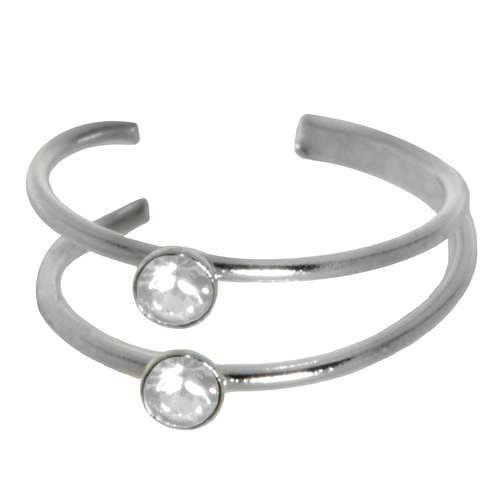 Ohrclip Silber 925 Kristall Streifen Rillen Linien