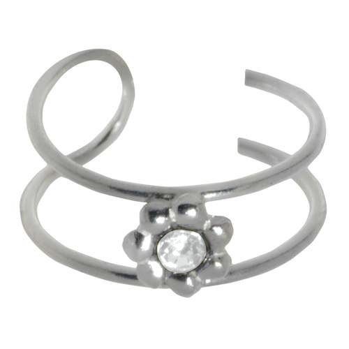 Ohrclip Silber 925 Kristall Blume