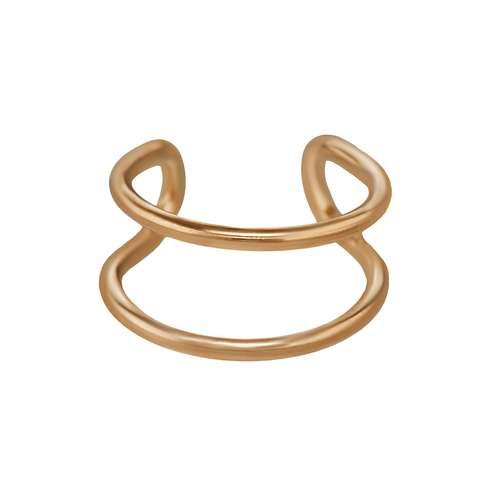 Ohrclip Edelstahl PVD Beschichtung (goldfarbig) Streifen Rillen Linien