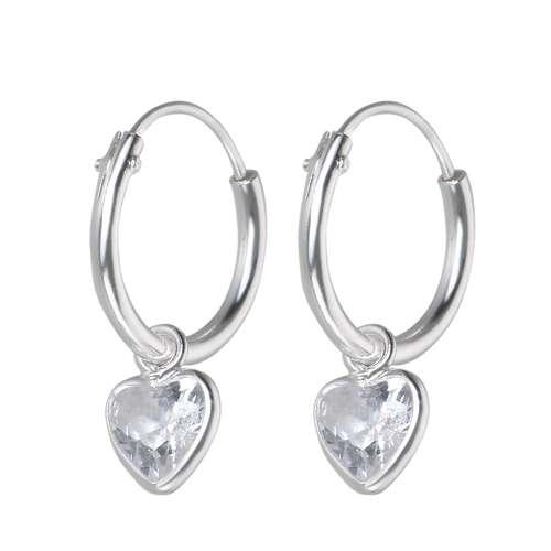 Kinder Ohrringe Silber 925 Zirkonia Herz Liebe