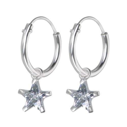 Kinder Ohrringe Silber 925 Zirkonia Stern