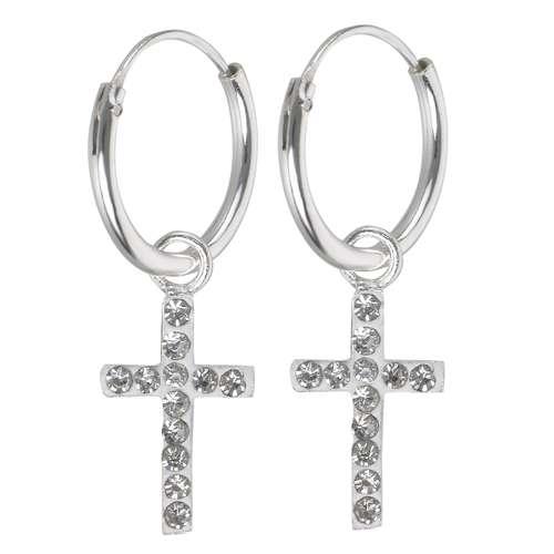 Ohrhänger Silber 925 Kristall Kreuz
