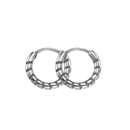 Orecchini Metallo chirurgico 316L Spirale Striatura Banda Incavo