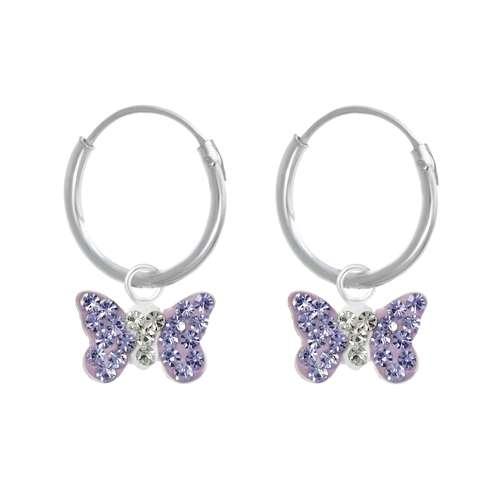 Kinder Ohrringe Kristall Silber 925 Schmetterling Sommervogel