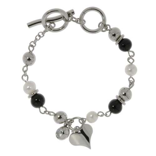 Armband Edelstahl Synthetische Perle PVD Beschichtung (schwarz) Kristall Herz Liebe