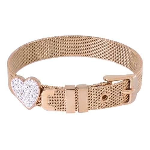 Armband Edelstahl Gold-Beschichtung (vergoldet) Kristall Herz Liebe