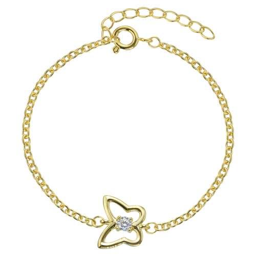 Kinder Armkette Edelstahl PVD Beschichtung (goldfarbig) Zirkonia Schmetterling Sommervogel
