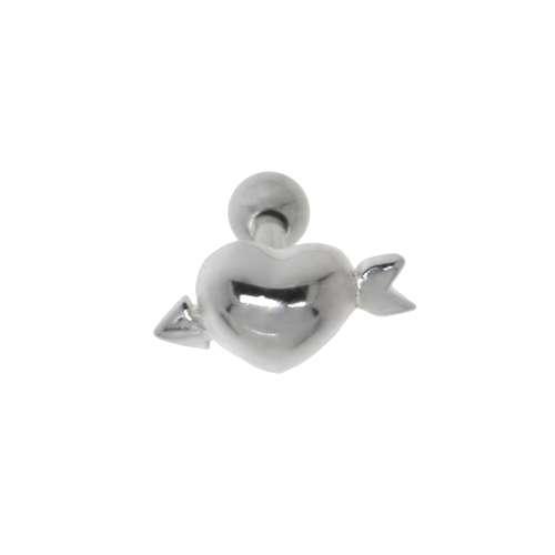 Piercing orecchio Metallo chirurgico 316L Ottone con rivestimento in argento Love Amore Cuore Amore Freccia Dardo Freccetta