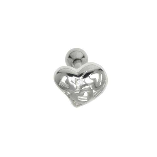 Piercing orecchio Metallo chirurgico 316L Ottone con rivestimento in argento Cuore Amore