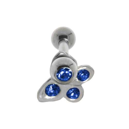 Piercing orecchio Metallo chirurgico 316L Ottone con rivestimento in argento Cristallo Farfalla