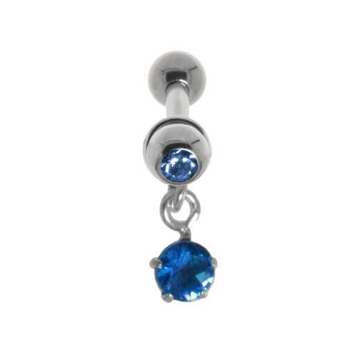 Piercing orecchio Metallo chirurgico 316L Ottone con rivestimento in argento Cristallo Zircone