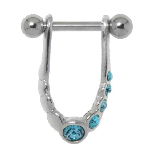 Piercing orecchio Metallo chirurgico 316L Ottone con rivestimento in argento Cristallo Eterno Eterna Passante