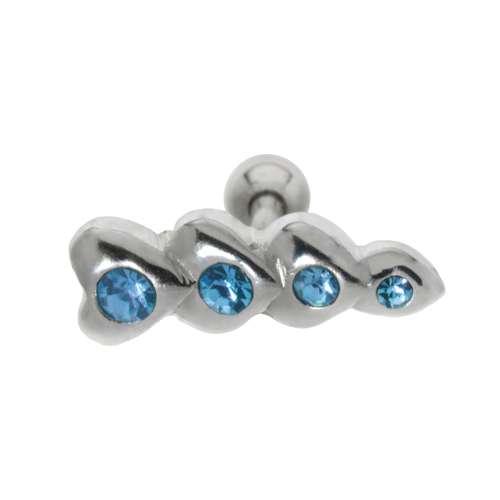 Piercing orecchio Metallo chirurgico 316L Ottone con rivestimento in argento Cristallo Cuore Amore